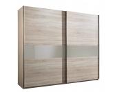 Schwebetürenschrank Aenon C - Eiche Sägerau Dekor/Glas Sahara Grau - Schrankbreite: 150 cm - 2-türig, fresh to go