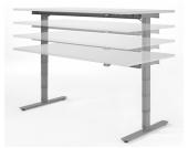Geramöbel Schreibtisch VALENCIA elektr. höhenverstellbar 120 x 80 Lichtgrau/Silber