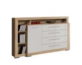 Wohnzimmer Sideboard mit vier Schubladen Hochglanz Weiß