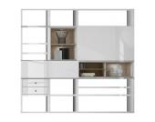 EEK A+, XL Regalwand Emporior I.C - Hochglanz Weiß / Eiche Sonoma Dekor - RGB LED-Beleuchtung, loftscape