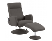Massagesessel Franklin (mit Hocker) - Lederlook Mocca, Nuovoform