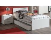 Vipack Set Milan best. aus Einzelbett 90x200 und Nachtkonsole Weiß