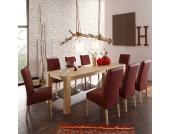 Massivholztisch mit Stühlen in Rot und Eiche Sonoma (9-teilig)
