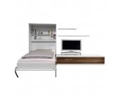 Schrankbett-Kombination Majano - 110 x 205cm - Schaumstoffmatratze - Weiß / Nussbaum Dekor, Modoform