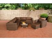 Polyrattan Gartengarnitur ARIANO braun-meliert, aus 5 mm Rund-Rattan, mit Aluminiumgestell (5er Sofa + Sessel + Hocker + Tisch + 10 cm dicke Polster + Kissen)