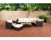 17 teiliges Set: Polyrattan Gartengarnitur PARADISO, mit Aluminiumgestell (5er Sofa + Sessel + Hocker + Tisch 110 x 60cm + 10 cm dicke Polster + Kissen)