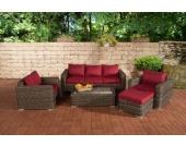 Polyrattan Gartengarnitur MADEIRA 3-1-1 grau-meliert, 3er Sofa & 2 Sessel inkl. Sitz- und Rückenpolster, Hocker, Tisch, FARBWAHL