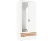 Rauch rauch Kleiderschrank mit Spiegel und Schubkästen, weiß, Breite 85 cm, 2-türig