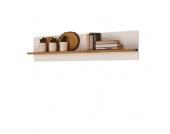 Hängeregal Mantua - Eiche Massivholz/Holzwerkstoff - Natur lackiert/Weiß - Breite: 120 cm, Perfect Furn