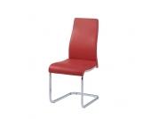Freischwinger Stuhl in Rot Kunstleder (4er Set)