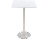 massiver Edelstahl Stehtisch VITRA 70x70 cm, Höhe 110 cm, Tischplatte wahlweise aus Glas oder Holz, FARBWAHL