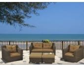 Lounge Sitzgarnitur Laguna aus Polyrattan, braun, 5-teilig