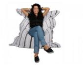 Sitzsack / Bodenkissen, schwarz/weiß/grau gestreift