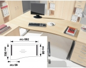 Computertisch mit geschwungener Platte