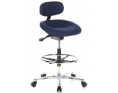 Hocker / Drehhocker / Arbeitsstuhl WORK MF Stoff blau Chrom hjh OFFIC