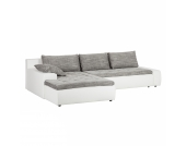 Ecksofa Grand Bahama (mit Schlaffunktion) - Kunstleder/Strukturstoff - Longchair beidseitig montierbar - Weiß / Hellgrau, Home Design