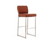 Edelstahl Barhocker LOUISIANA, Sitzhöhe 77 cm, mit Kunstlederbezug - aus bis zu 11 Farben wählen - Polsterstärke 5 cm, einfach bequem sitzen